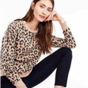 J. CREW Fleece Leopard Crewneck Sweatshirt sz S